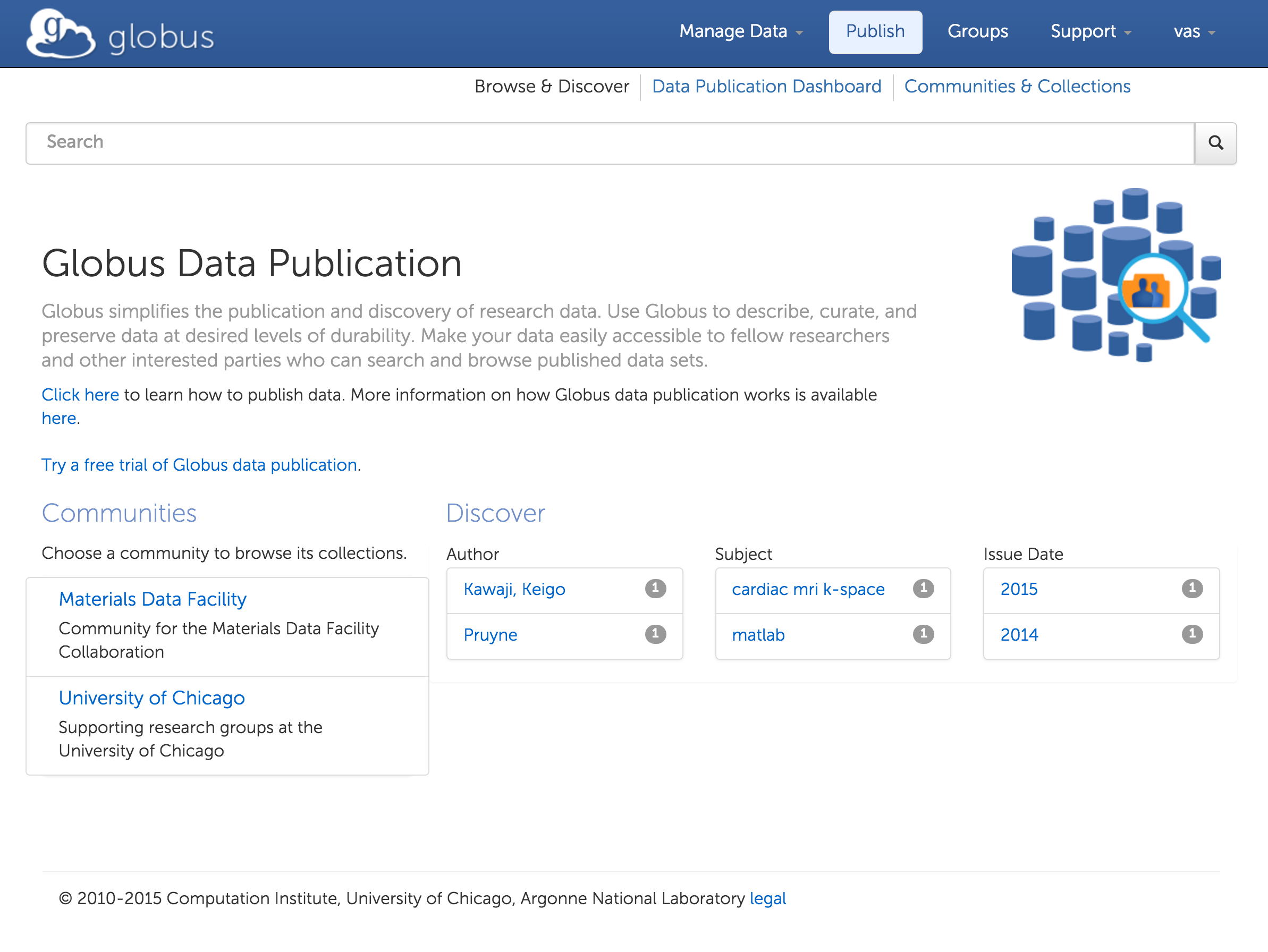 Data publication home page