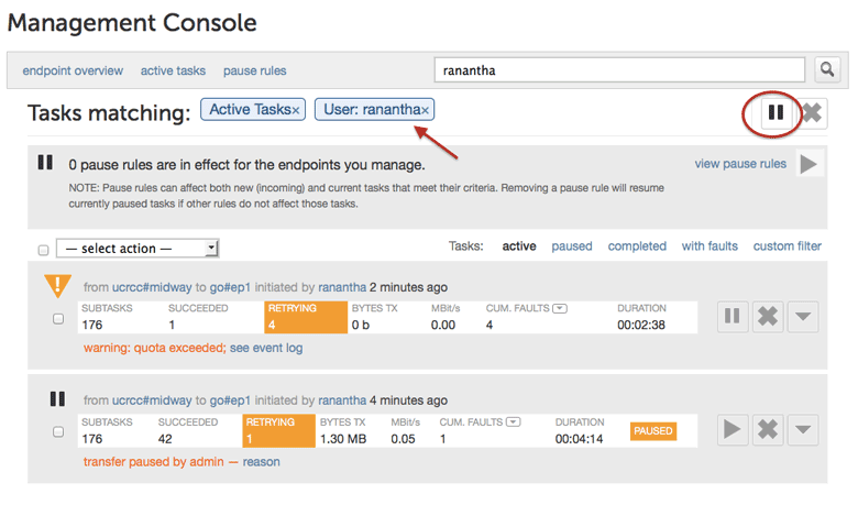 Cancel and Pause/Resume tasks using the management console | globus