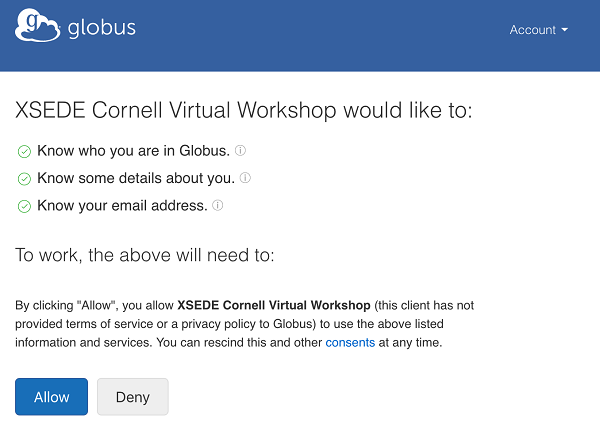 Cornell XSEDE sign on with Globus Auth